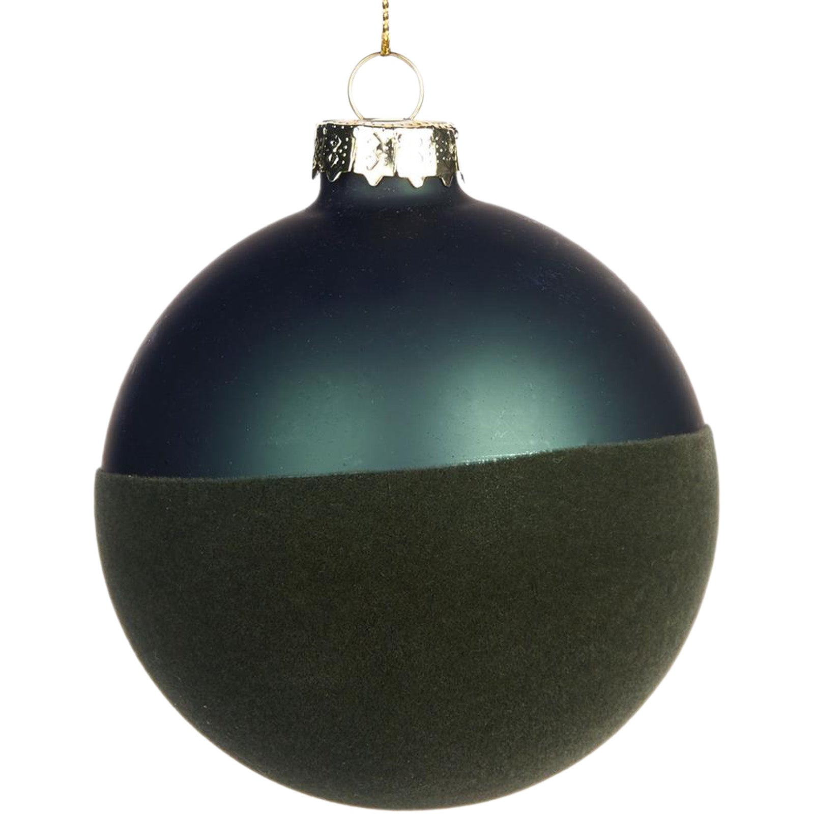 Half Matte Green Bauble by LuxDeco - Christmas tree decoration ornament - LuxDeco.com