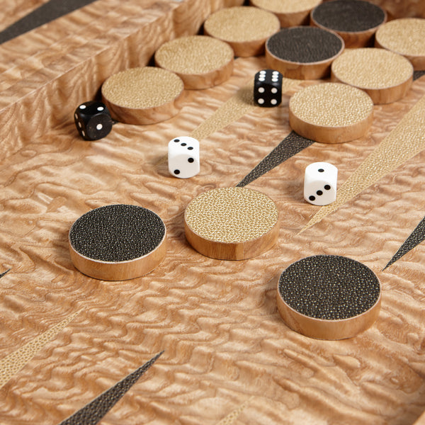 Tamo Ash & Black Backgammon Set iWoodesign Tamo Ash & Black Backgammon Set
