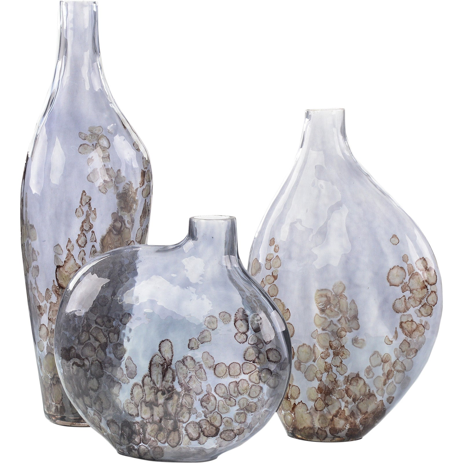 A Set Of Three Sky-Gray Crackled Glass Vases