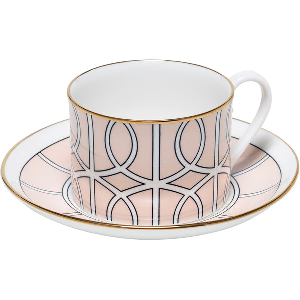 Loop Blush and White Teacup & Saucer (Gold) O.W. London Loop Blush and White Teacup & Saucer (Gold)