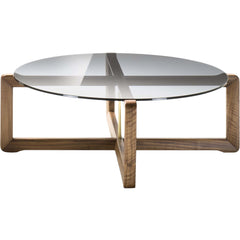 Manolo Coffee Table Black Tie Walnut-&-Glass