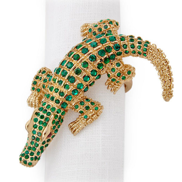 Set of 4 Gold Crocodile Napkin Rings