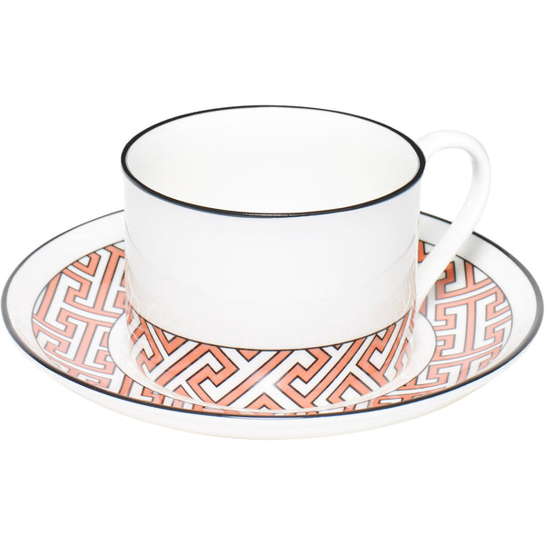 Maze Coral And White Teacup  & Saucer O.W. London Maze Coral And White Teacup  & Saucer
