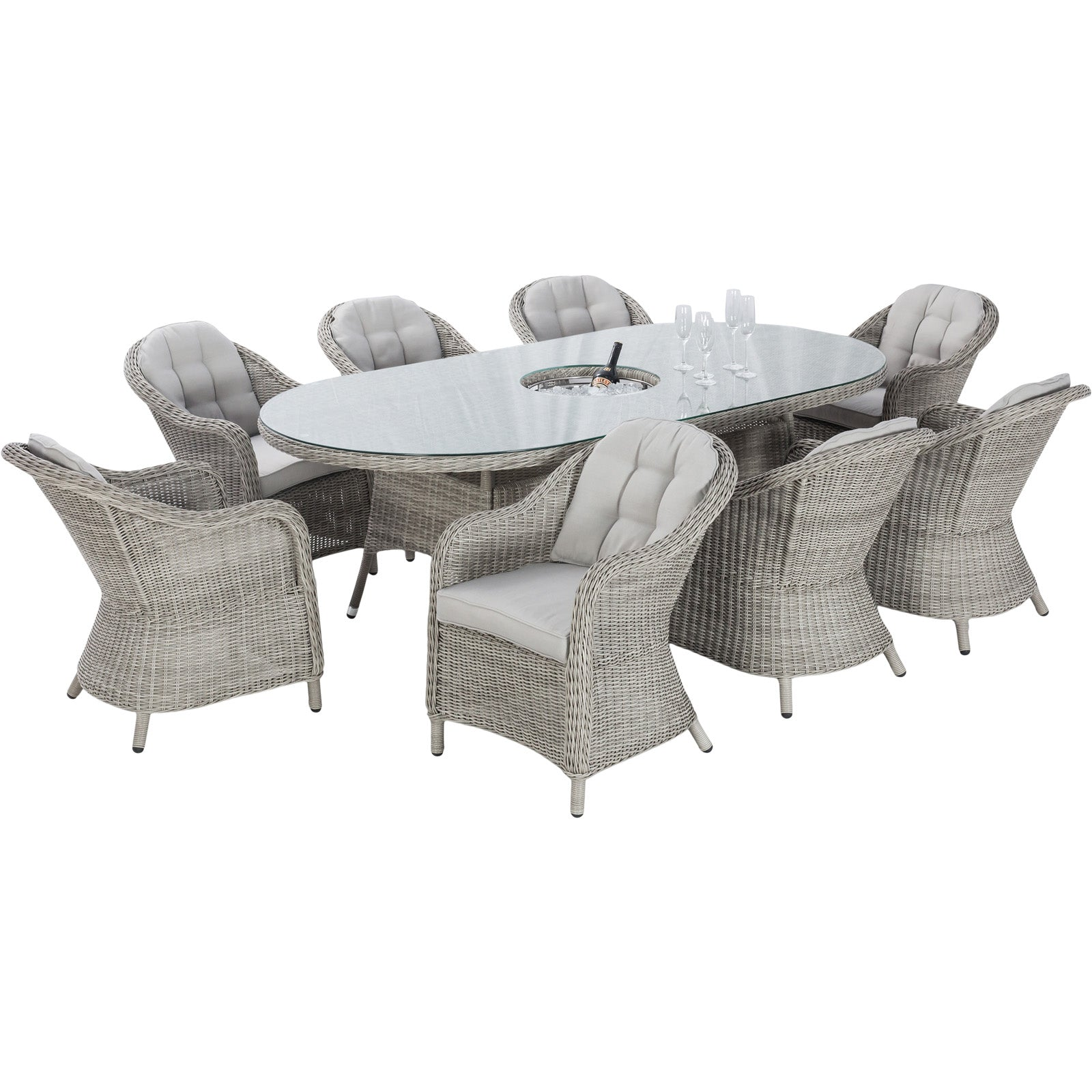Oxford 8 Seat Oval Dining Set - Heritage Chairs
