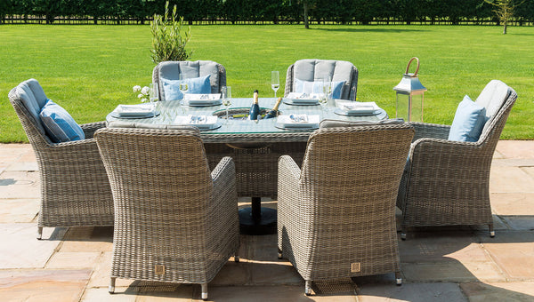 Oxford 6 Seat Oval Dining Set - Venice Chairs LuxDeco Oxford 6 Seat Oval Dining Set - Venice Chairs