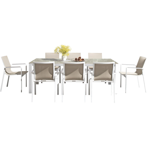 Seattle 220 Rectangular Table and 8 Seattle Chairs Westminster sand