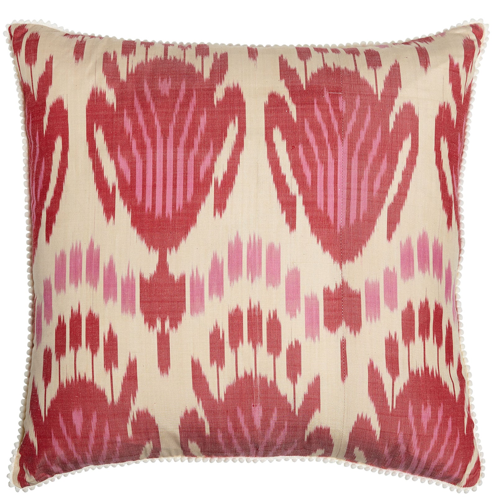 Pink & Red Square Silk Ikat Cushion