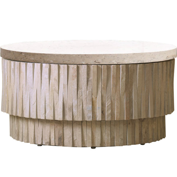 Round Teeter Totter Stone Cocktail Table LuxDeco Round Teeter Totter Stone Cocktail Table