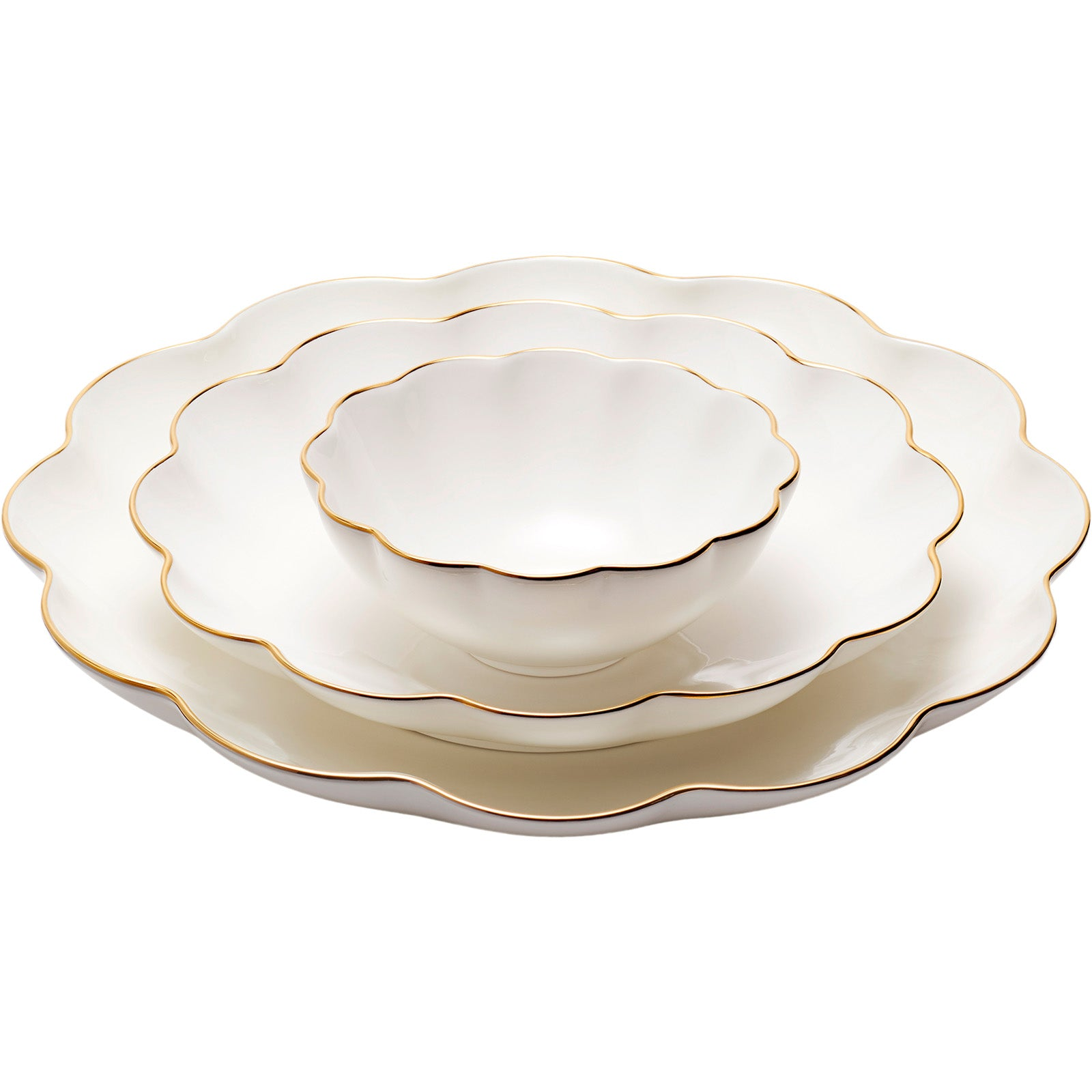 Set of 3 Scalloped Nesting Serving Dishes