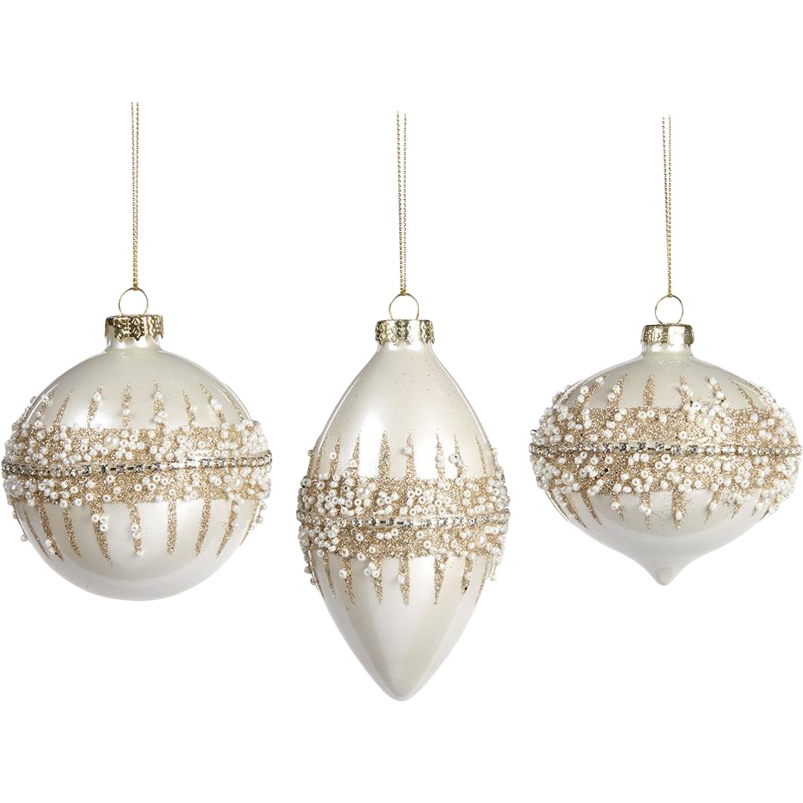Set Of 3 Cream Baubles