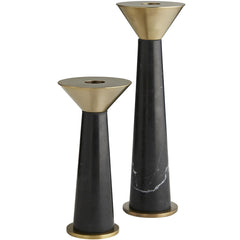 Set of 2 Black Tenbrooke Candleholders Arteriors Set of 2 Black Tenbrooke Candleholders