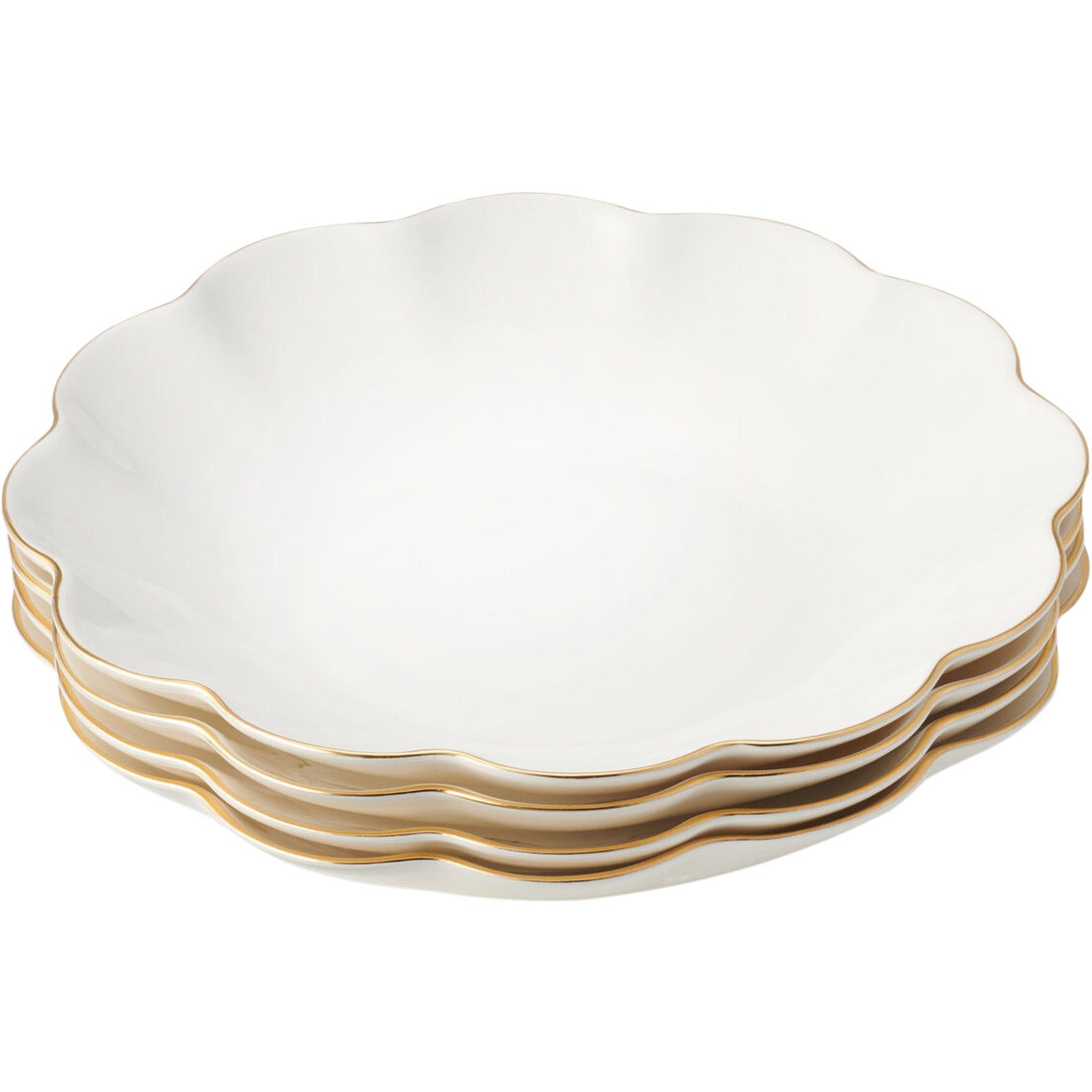 Set of 4 Scalloped Appetizer Plates