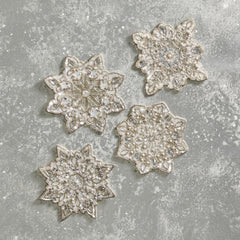 Set of 4 Snowflake Coasters Kim Seybert Set of 4 Snowflake Coasters