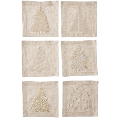 Set of 6 Winter Cocktail Napkins Kim Seybert Set of 6 Winter Cocktail Napkins