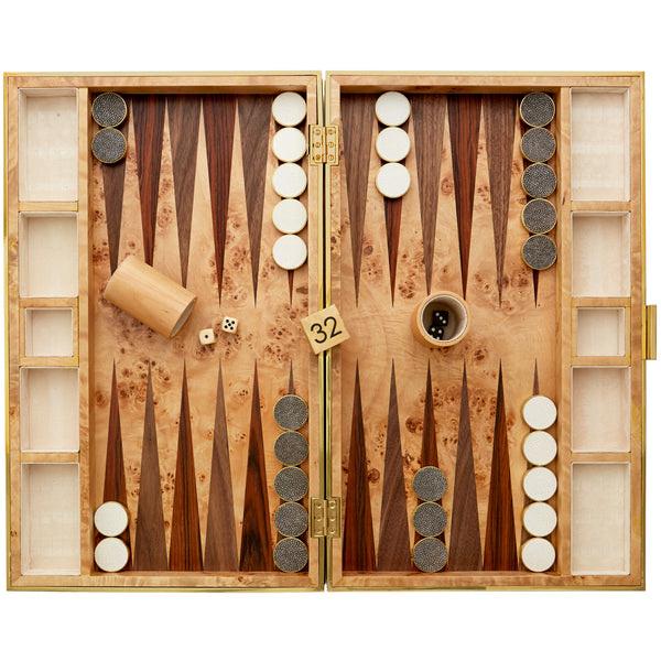 Chocolate Shagreen Backgammon Set AERIN Chocolate Shagreen Backgammon Set