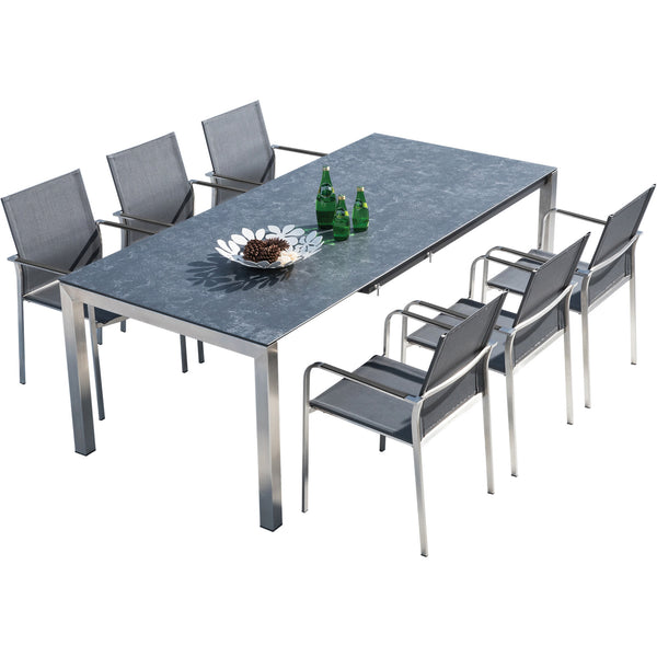 Seattle 220 Rectangular Table and 8 Seattle Chairs Westminster charcoal