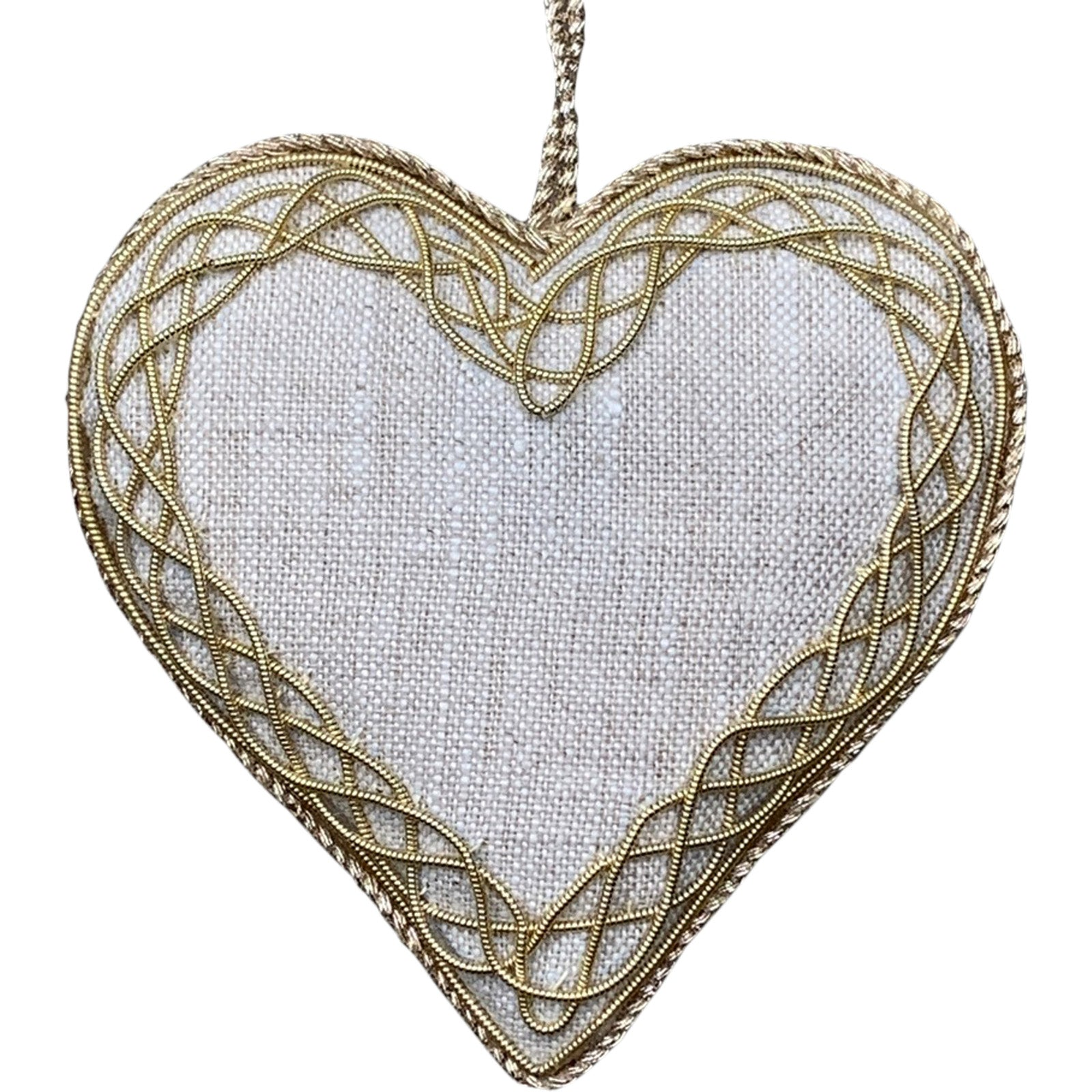 Linen Heart Decoration by LuxDeco - Christmas tree decoration - LuxDeco.com