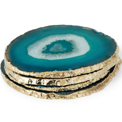 Set of 4 Teal Agate Coasters AERIN Set of 4 Teal Agate Coasters