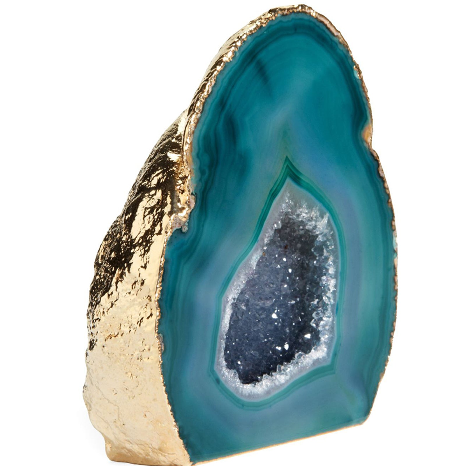 Agate Geode Stone Ornament - Teal