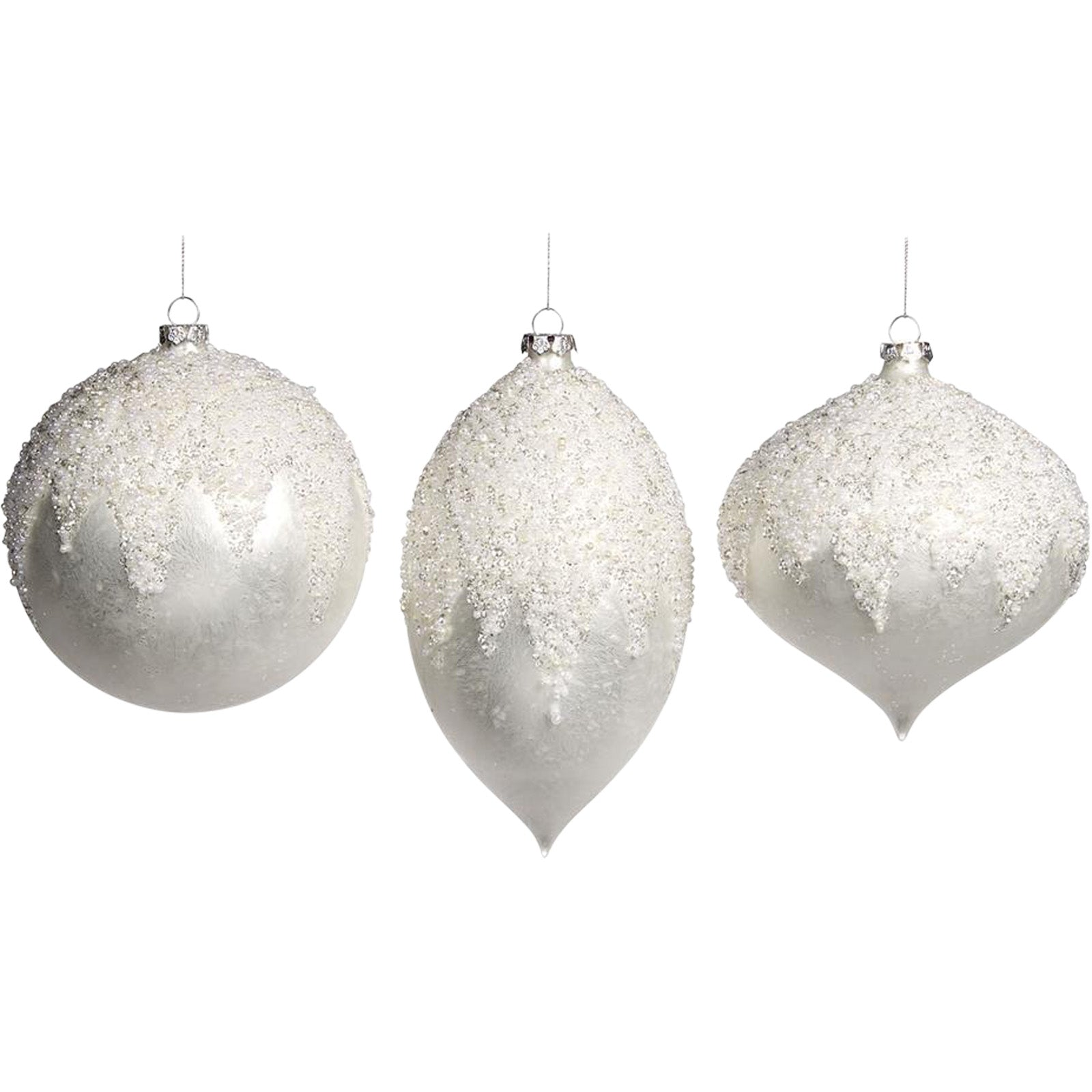 Set of 3 Glitter Top Baubles