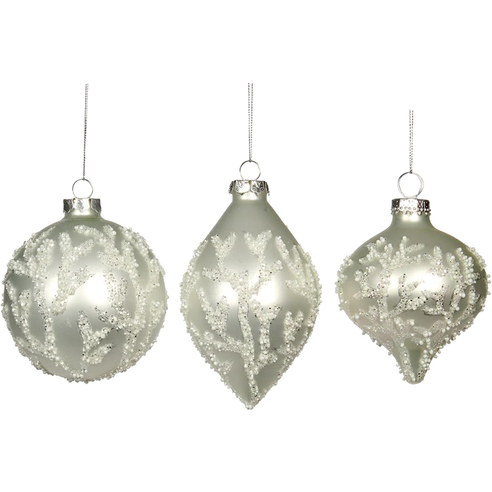 Set of Three Beaded Coral Baubles by LuxDeco - Christmas tree decoration - LuxDeco.com