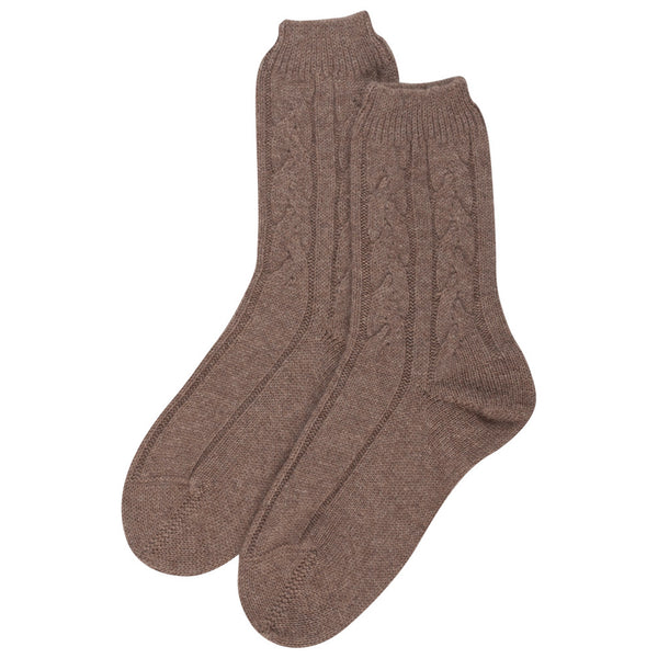 Cashmere Cable Bed Socks Johnstons of Elgin Taupe