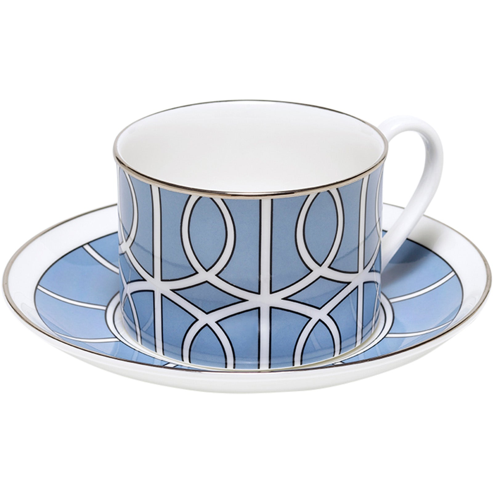 Loop Cornflower Blue And White Teacup & Saucer (Silver)