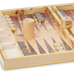 Croc Leather Backgammon Set AERIN Croc Leather Backgammon Set