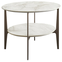 Dupre Circular Side Table Casamilano Calacatta-Marble/Bronze