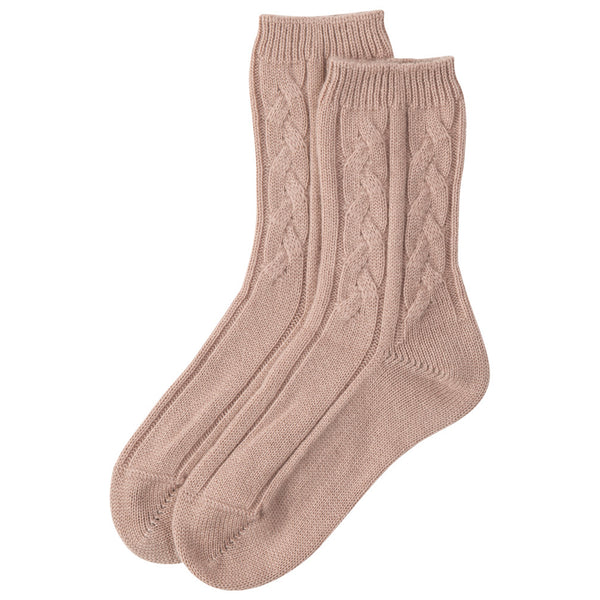 Cashmere Cable Bed Socks Johnstons of Elgin Pink