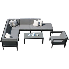 Manhattan Complete Corner Seating with Ottoman Westminster charcoal