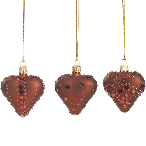 Set of 3 Glass Heart Baubles