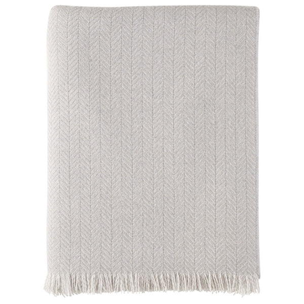 Lofty Herringbone Cashmere Throw Silver and Winter Grey