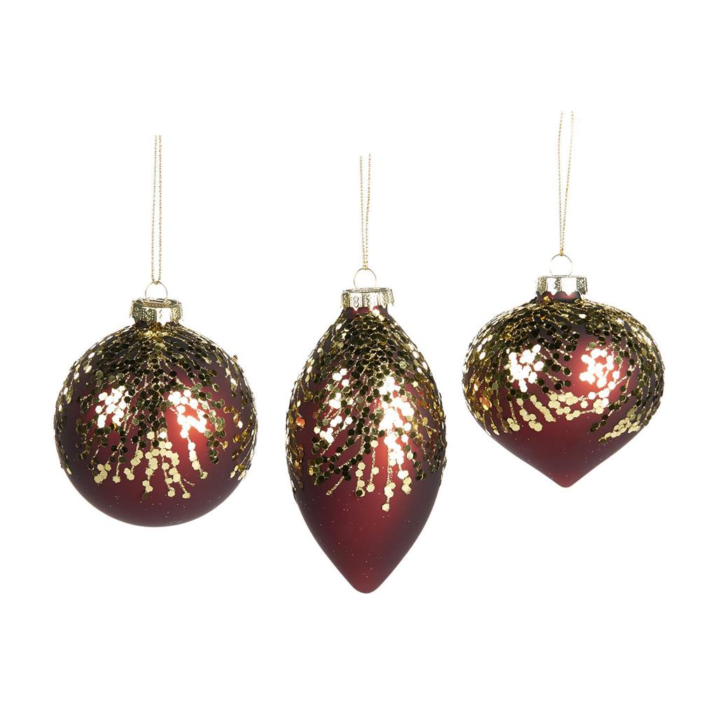 Set Of 3 Red Glitter Baubles
