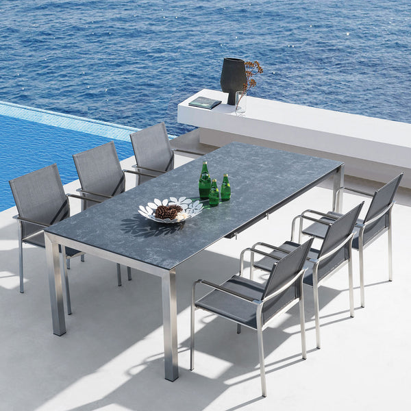 Seattle 220 Rectangular Table and 8 Seattle Chairs Westminster grey