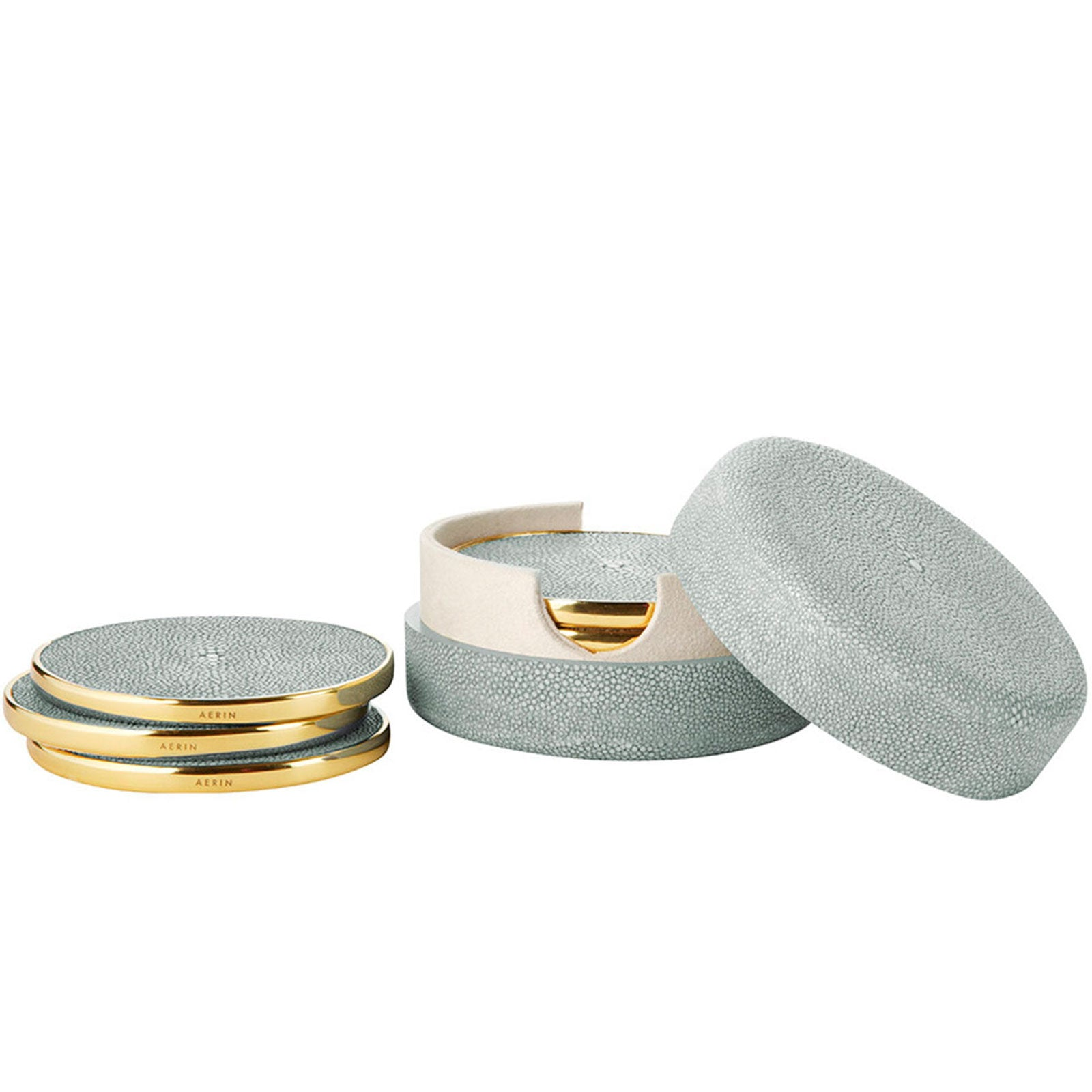 Set Of 4 Mist Shagreen Coasters