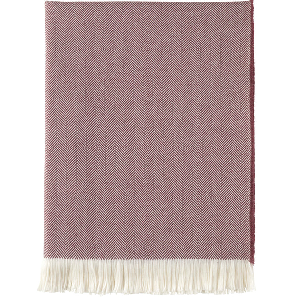 Herringbone Extra Merino Throw - Berry