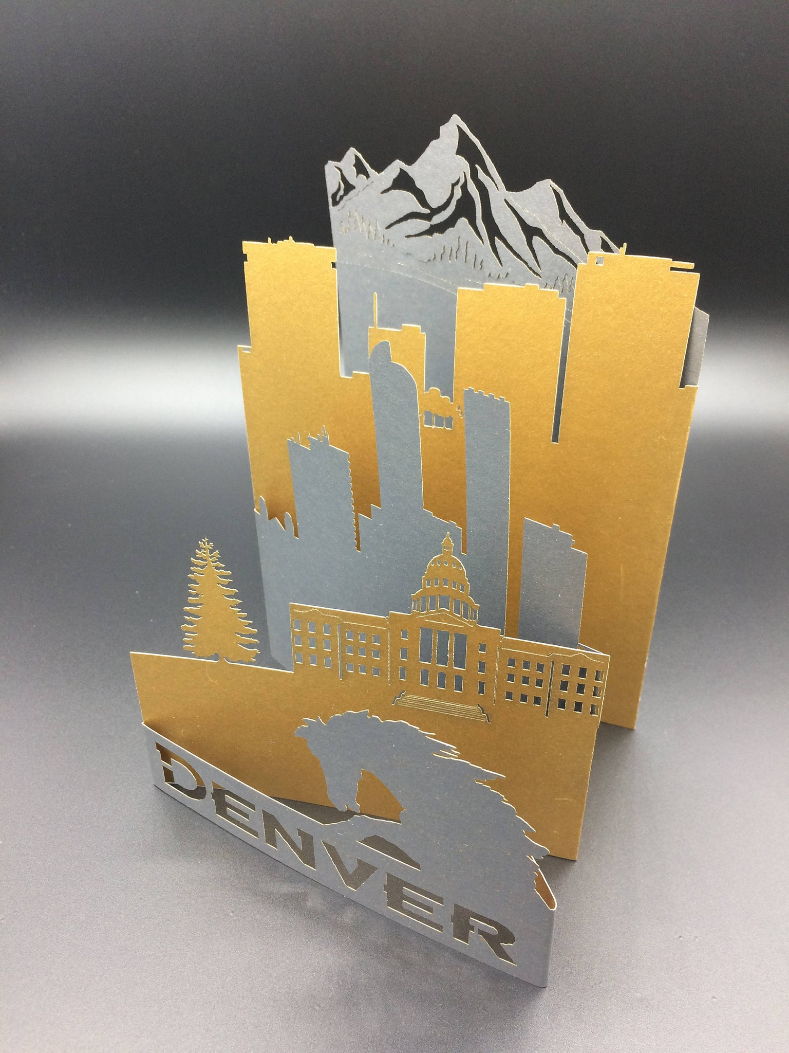 Denver Laser Cut Greeting Card Featuring The Rockies Blucifer