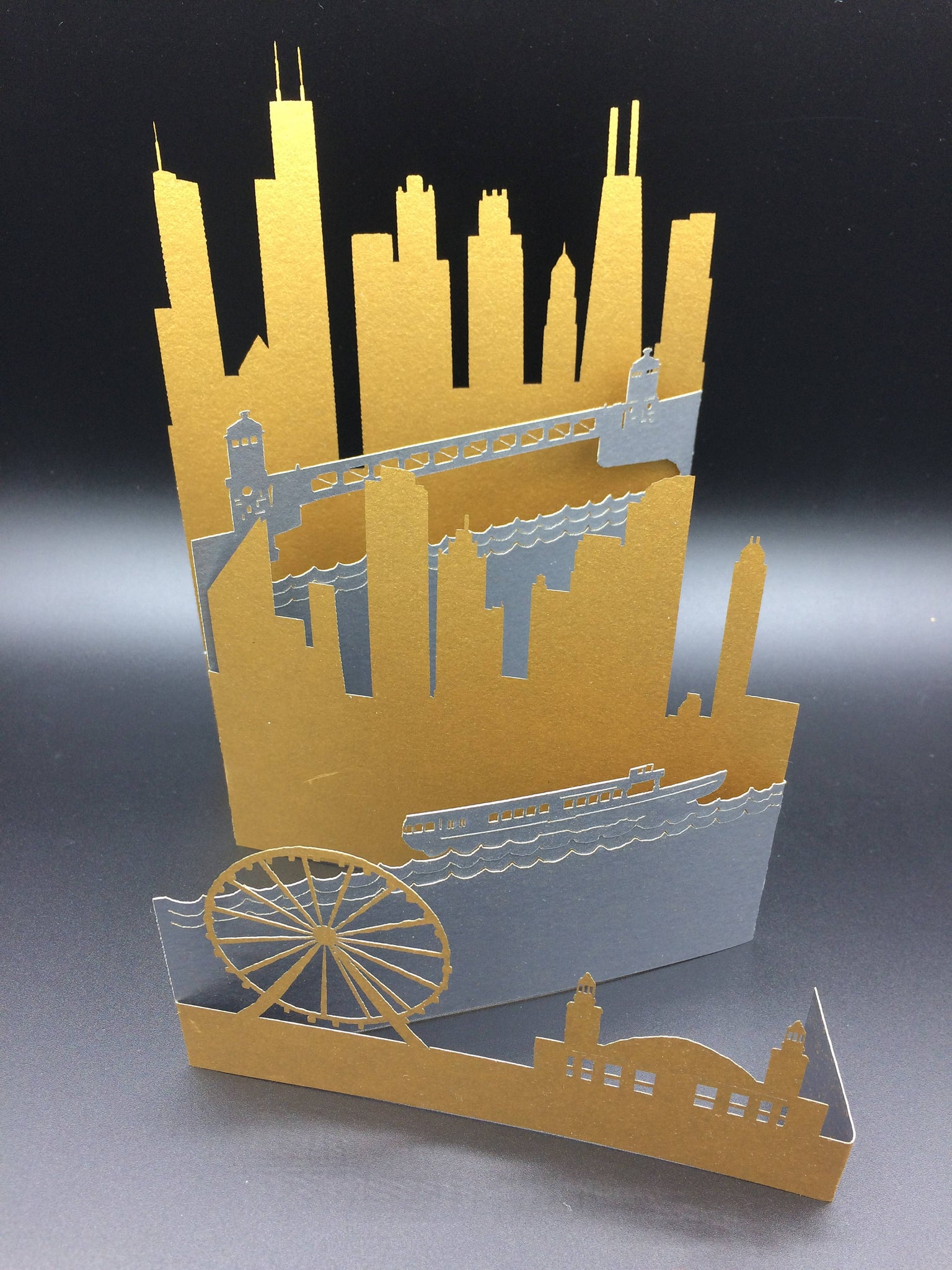 Chicago Laser Cut Greeting Card Featuring Dusable Bridge Navy