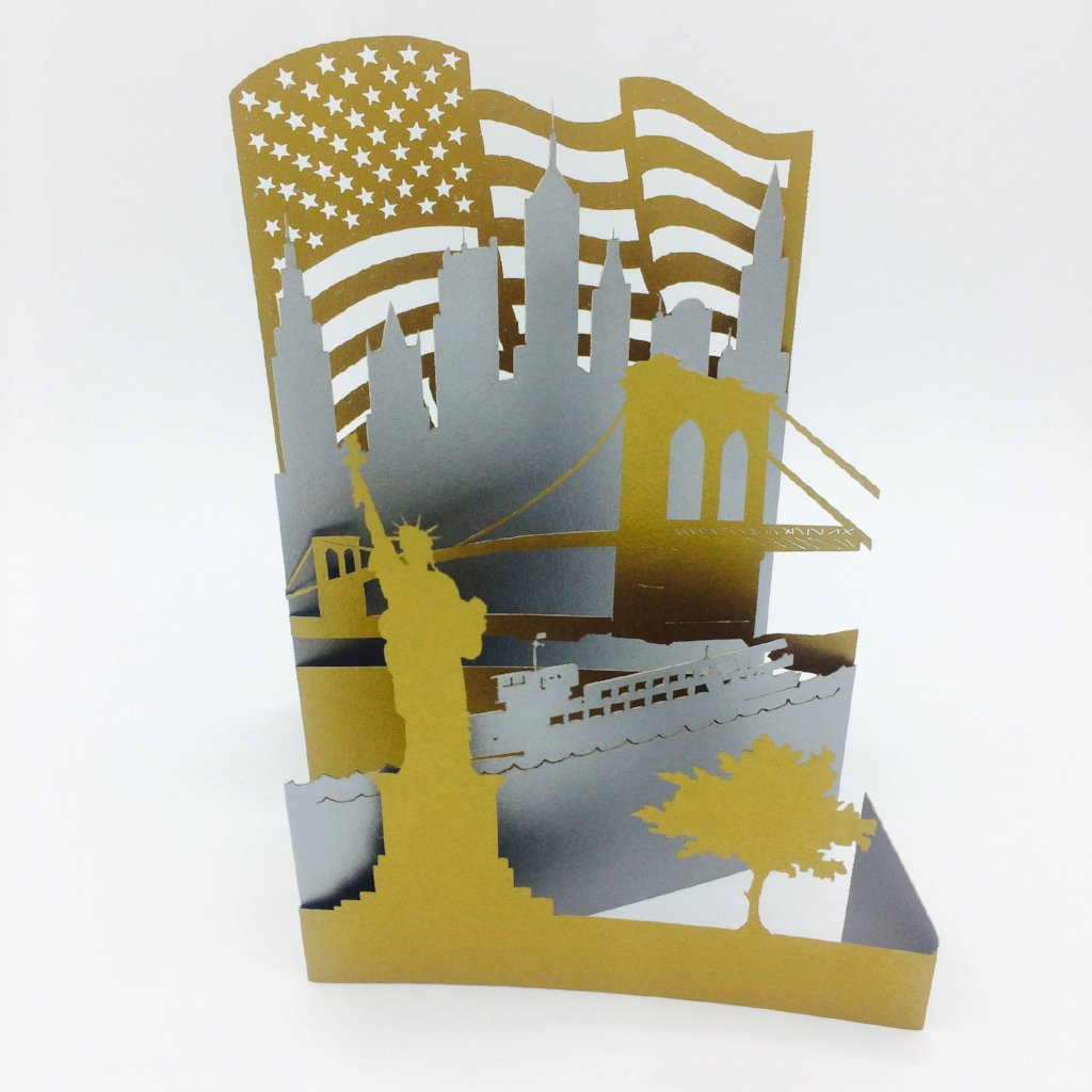 New York City Laser Cut Greeting Card Featuring Brooklyn Bridge