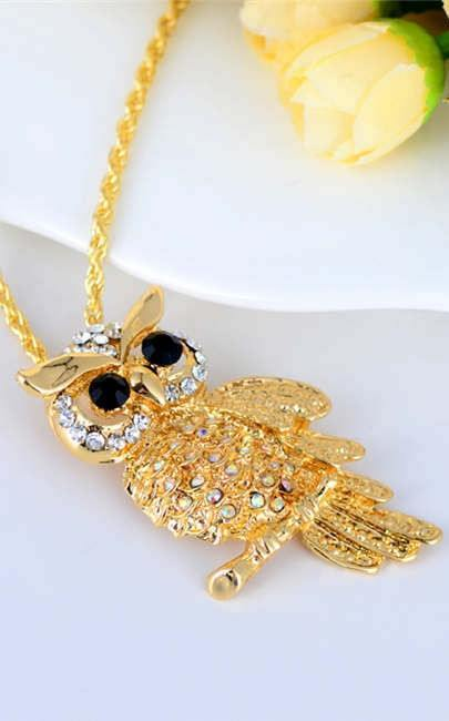 Gold Crystal Gemstone Owl Necklace