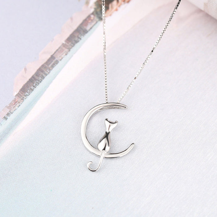 Cat on the Moon Necklace (Silver or Gold)