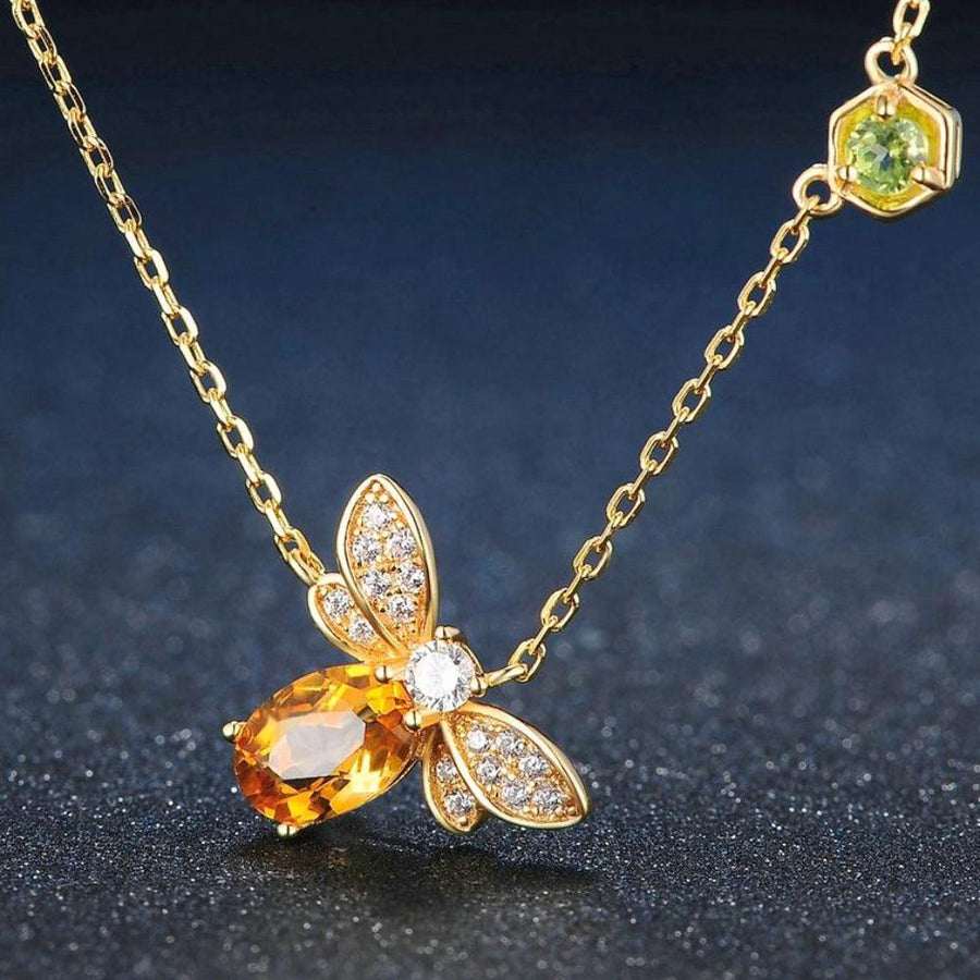 Citrine Bee 14K Yellow Gold Plated Pendant Necklace