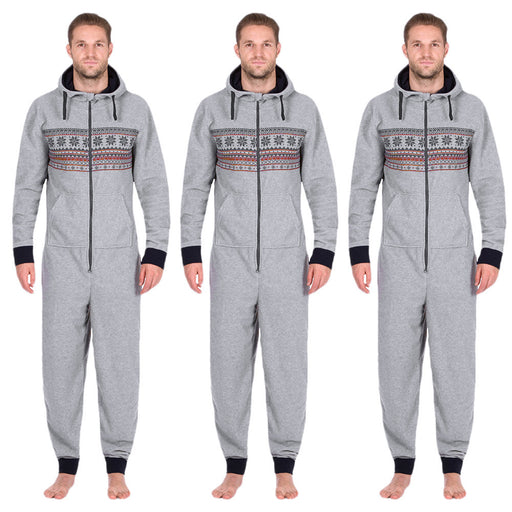 Men All In One Hooded Long Sleeve Snow Print Floral Zip Trousers Long Jumpsuit