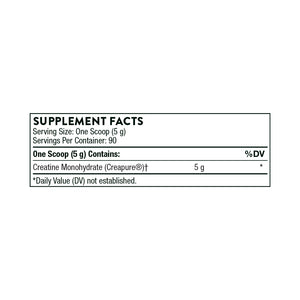 Creatine By Thorne Supplement Facts