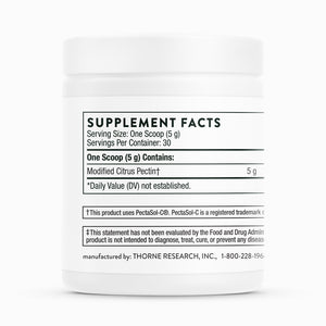 Fractionated Pectin Powder by Thorne Supplement Facts Label