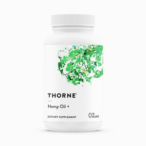 Hemp Oil + by Thorne. 30 Caps. Synergistic Blend of Phytocannabinoids. CO2 Extracted.