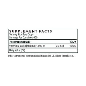 Vitamin D Liquid by Thorne Supplement Facts