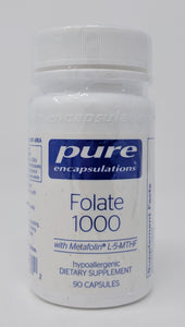 Folate 1000 by Pure Encapsulations. Compare to 5-MTHF by Thorne. 1mg 90 Caps. Metfolin