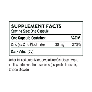 Zinc Picolinate 30mg by Thorne Research. 60 Caps Supplement Facts